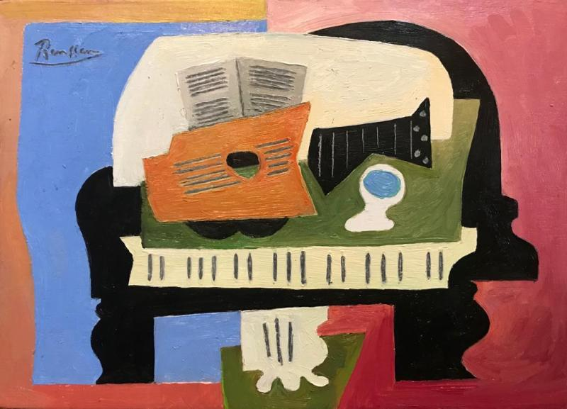 Erik Renssen, Guitar, glass and sheet music on a piano, 2021