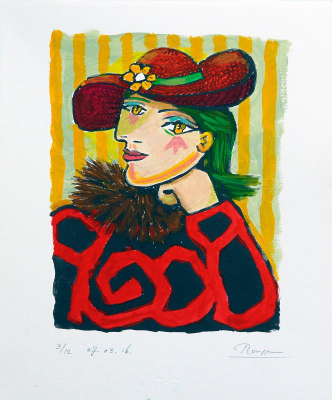 Erik Renssen, Woman in a straw hat with flower 3, (I), 2016