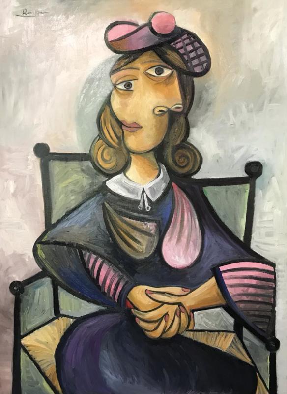 Erik Renssen, Size L | Seated woman in a pink baret, 2021