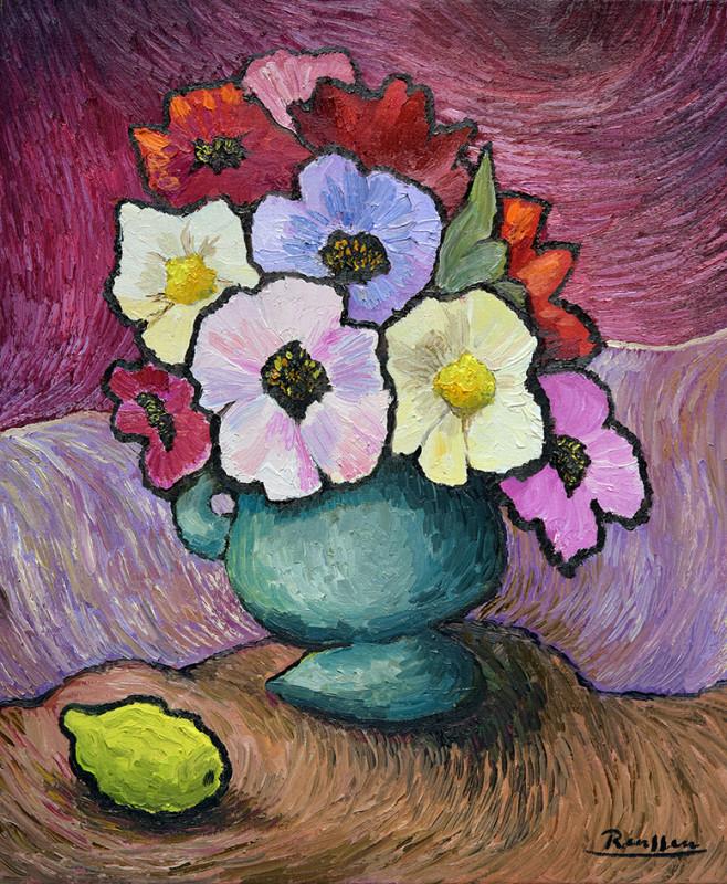 Erik Renssen, Flowers in a turquoise pot, 2020