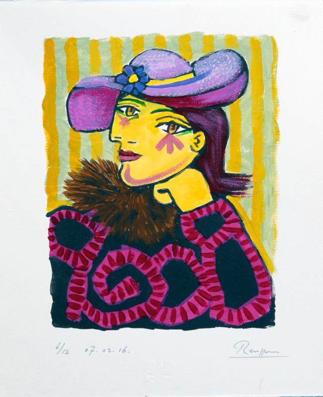 Erik Renssen, Woman in a straw hat with flower 3, (II), 2016