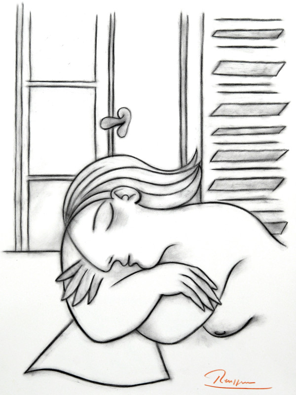 Erik Renssen, Size M | Taking a nap in front of a window, 2017