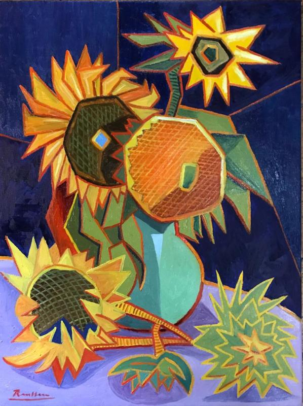 Erik Renssen, Sunflowers in a vase, 2020