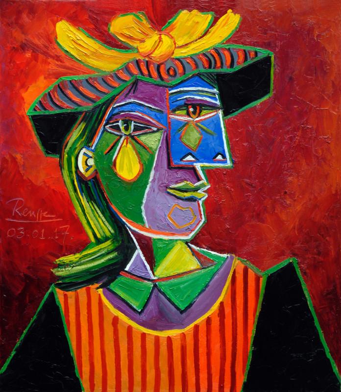 Erik Renssen, Woman in a striped hat, 2017