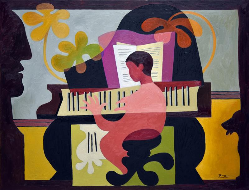Erik Renssen, Size L | The piano player, 2021