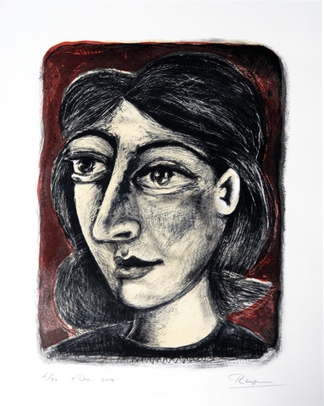 Erik Renssen, Femme sur fond rouge, 2014