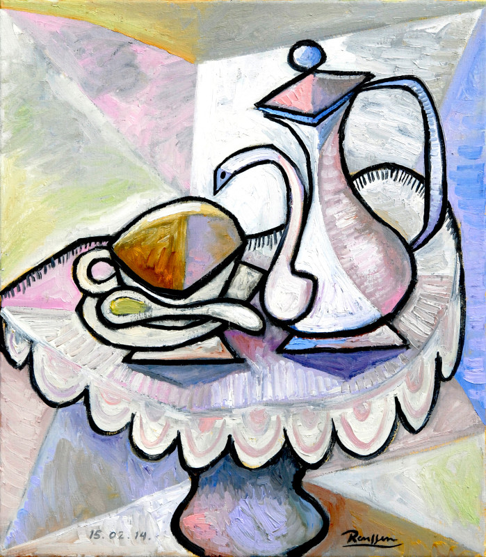 Erik Renssen, M / Coffee pot with cup and saucer I, 2014