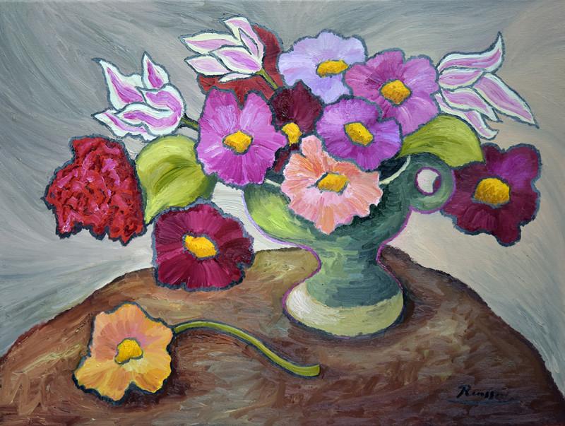Erik Renssen, Flowers in a green vase, 2020