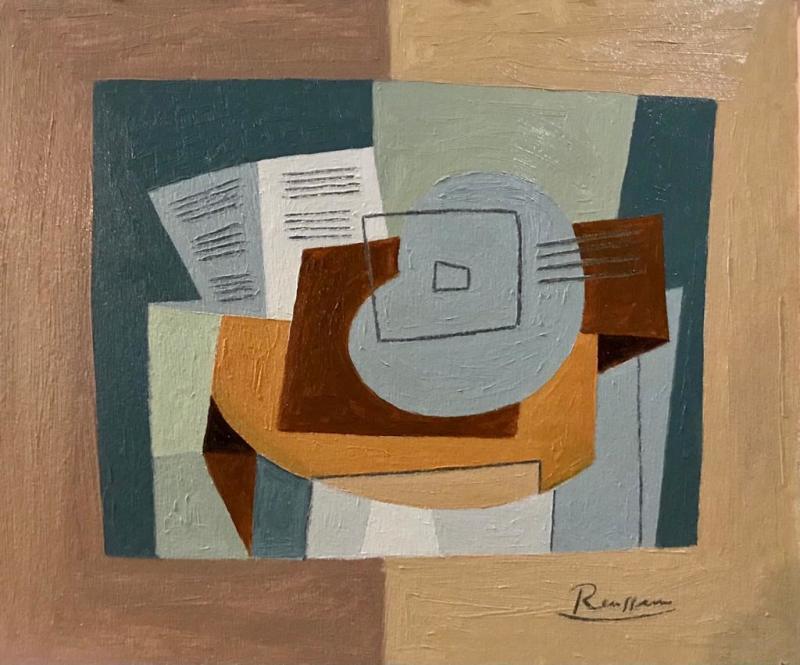 Erik Renssen, Still life with guitar and sheet music, 2020