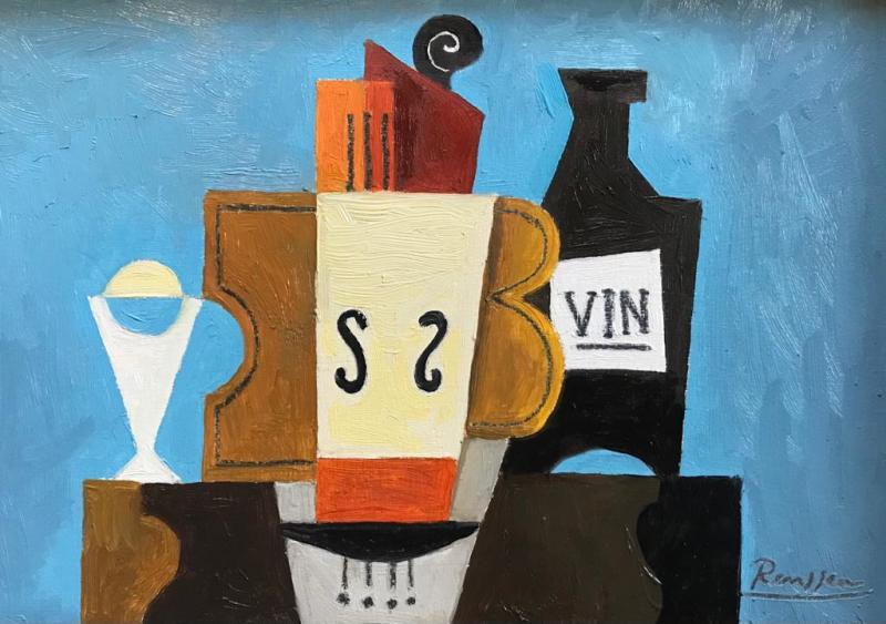 Erik Renssen, Instruments, wine and glass on a table, 2021
