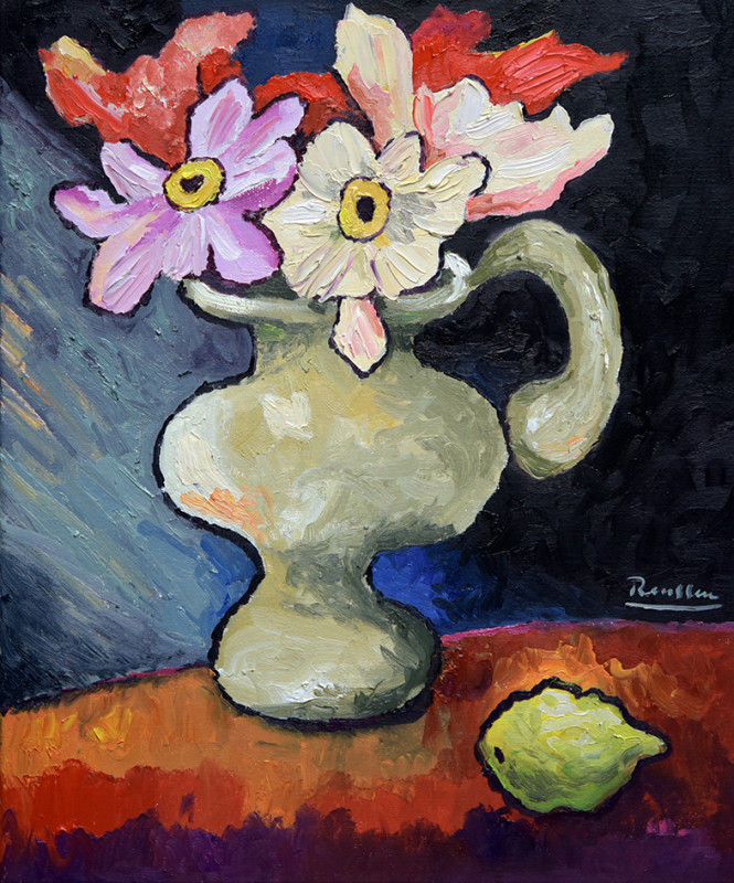 Erik Renssen, Pitcher with flowers and lemon on a table, 2020