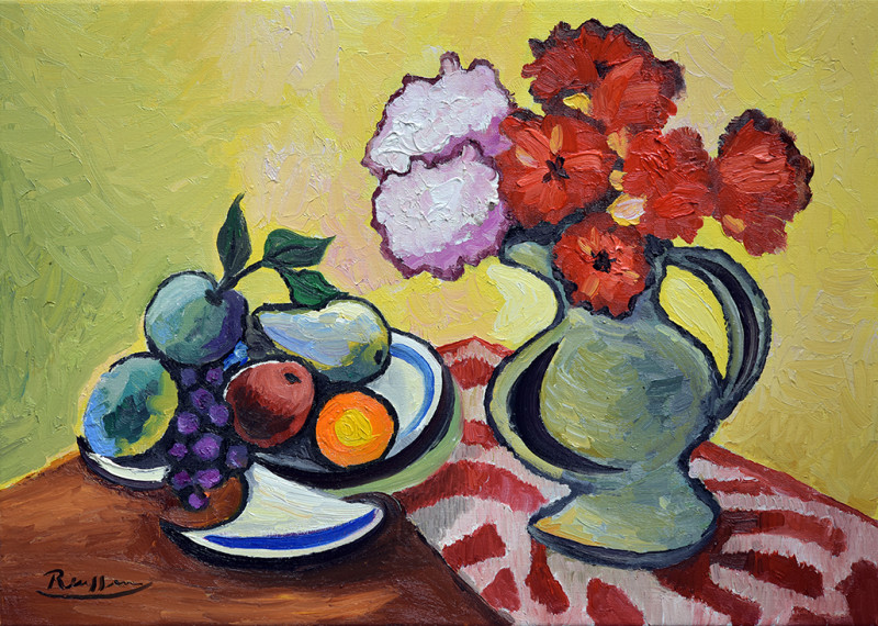Erik Renssen, M / Pitcher with fruit and flowers on a table, 2020
