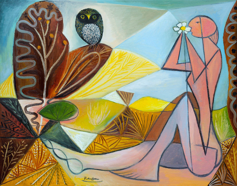 Erik Renssen, Nude and owl in a garden | edition of 10, 2018