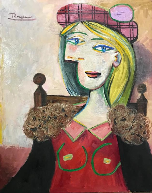 Erik Renssen, Girl in red checkered baret, 2019