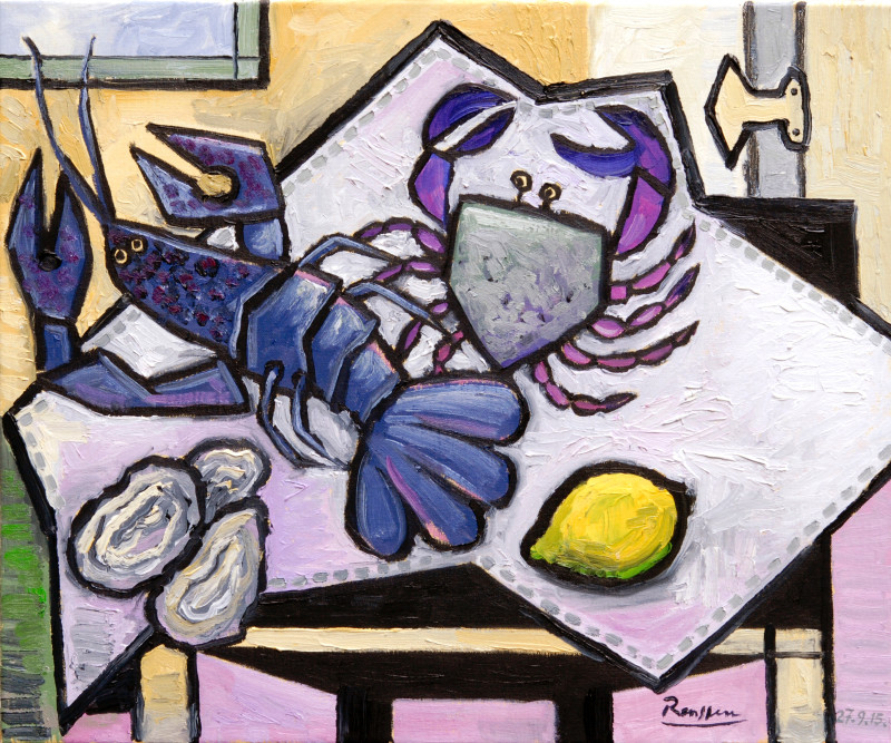 Erik Renssen, Lobster, crab and oysters on a table, 2015