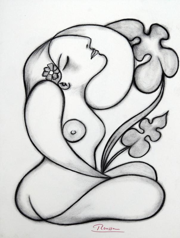 Erik Renssen, Seated nude with flower, 2018