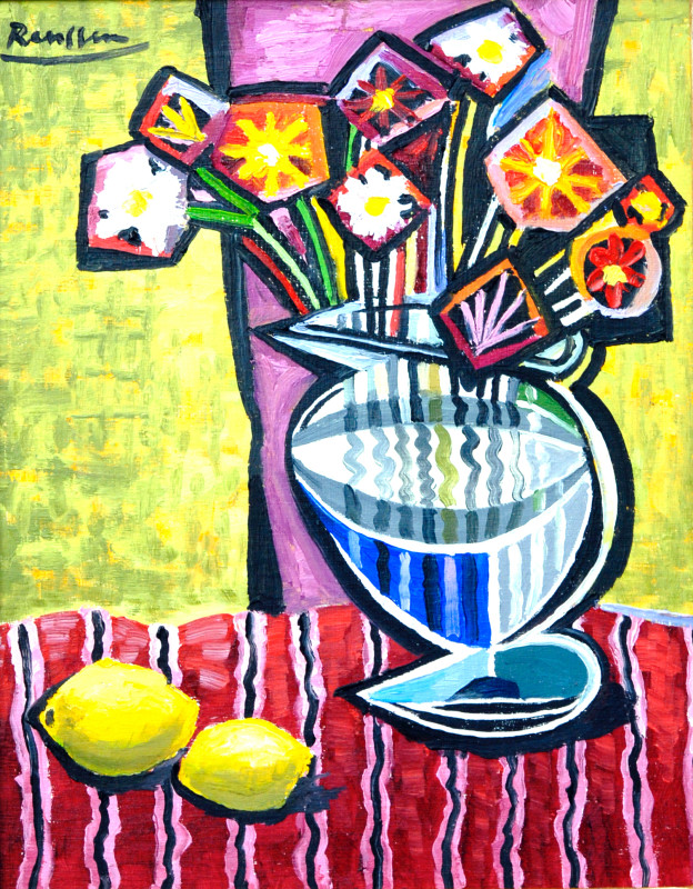 Erik Renssen, Flowers in a vase on a red tablecloth, 2016