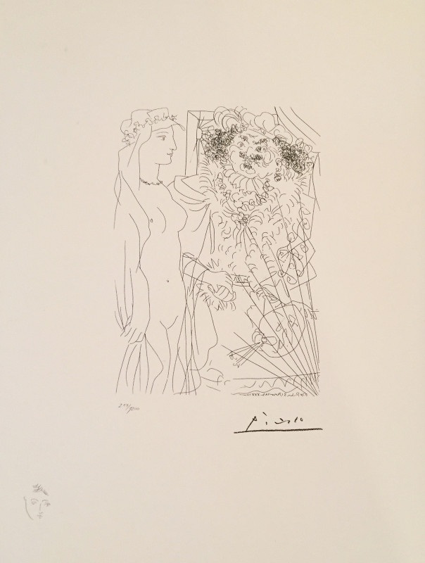Pablo Picasso, Vollard Suite : Standing nude with flowing headdress and portrait of Rembrandt with palette (after etching), Paris, 31 Jan , 1934