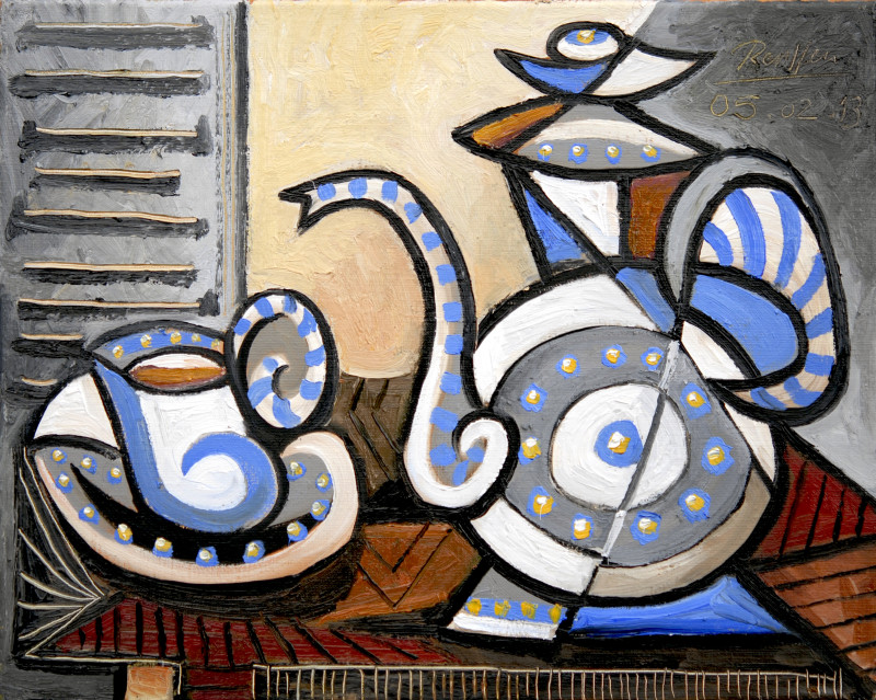 Erik Renssen, Teapot with cup and saucer I, 2013