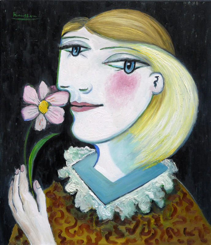 Erik Renssen, Woman with a pink flower, 2018
