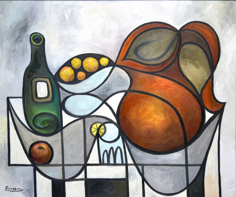 Erik Renssen, Pitcher, oranges, bottle and glass, 2019