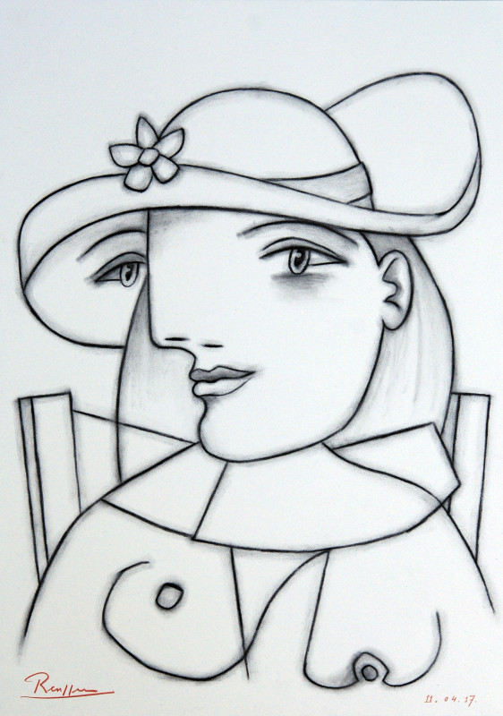 Erik Renssen, Seated woman with flower on her hat, 2017