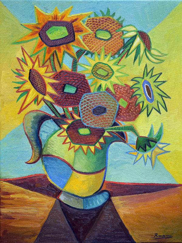 Erik Renssen, Sunflowers in a vase III, 2020