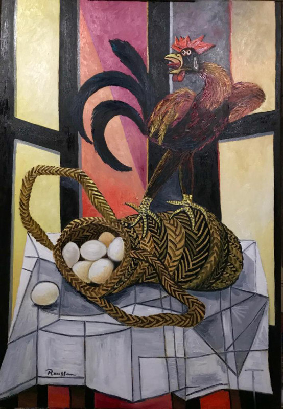 Erik Renssen, Rooster on a basket with eggs, 2019