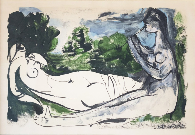 Pablo Picasso, Woman playing the flute, 1967