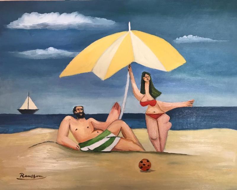 Erik Renssen, Couple on the beach, 2020