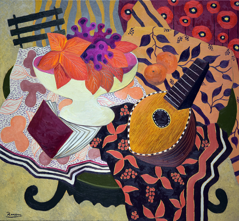 Erik Renssen, Size L | Mandolin, book and leaves in a bowl, 2021