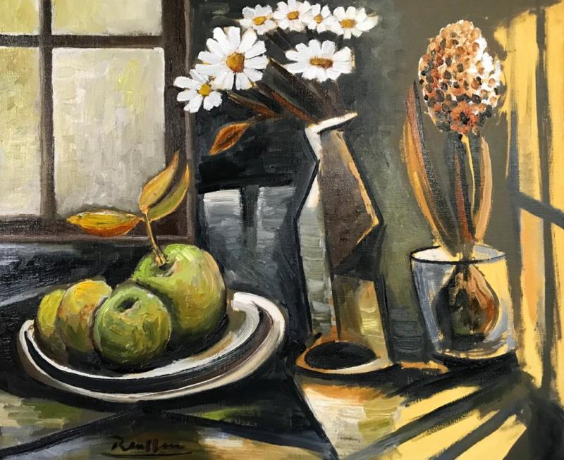 Erik Renssen, Apples and flowers in front of a window, 2020