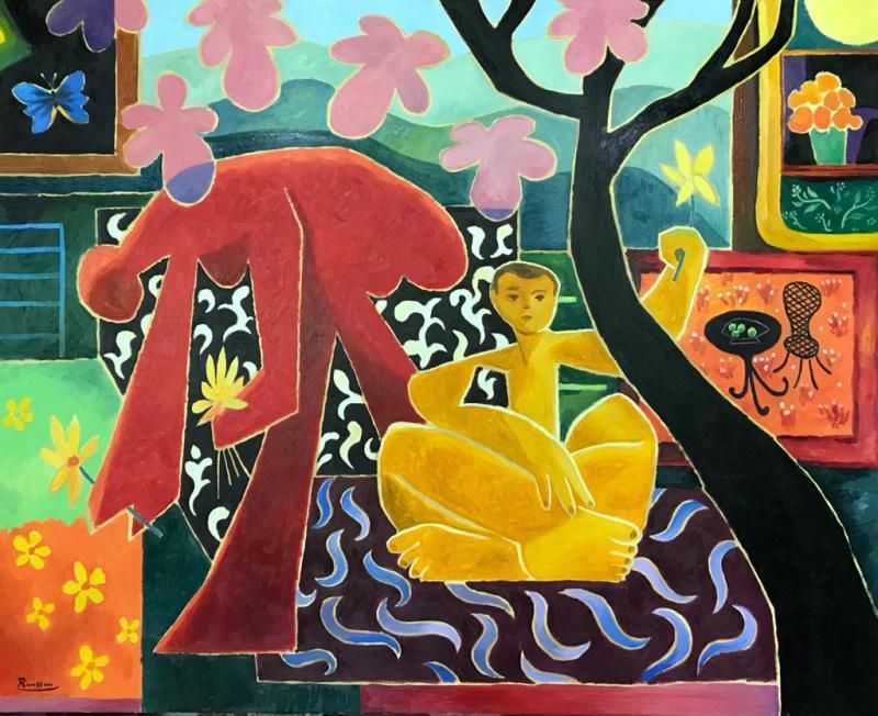 Erik Renssen, Two figures in a garden, 2021