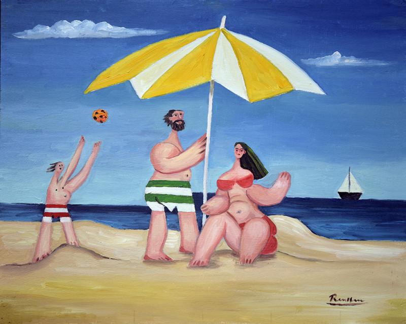 Erik Renssen, Family on the beach, 2020