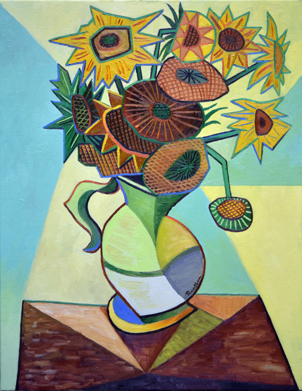 Erik Renssen, Sunflowers in pitcher, 2019