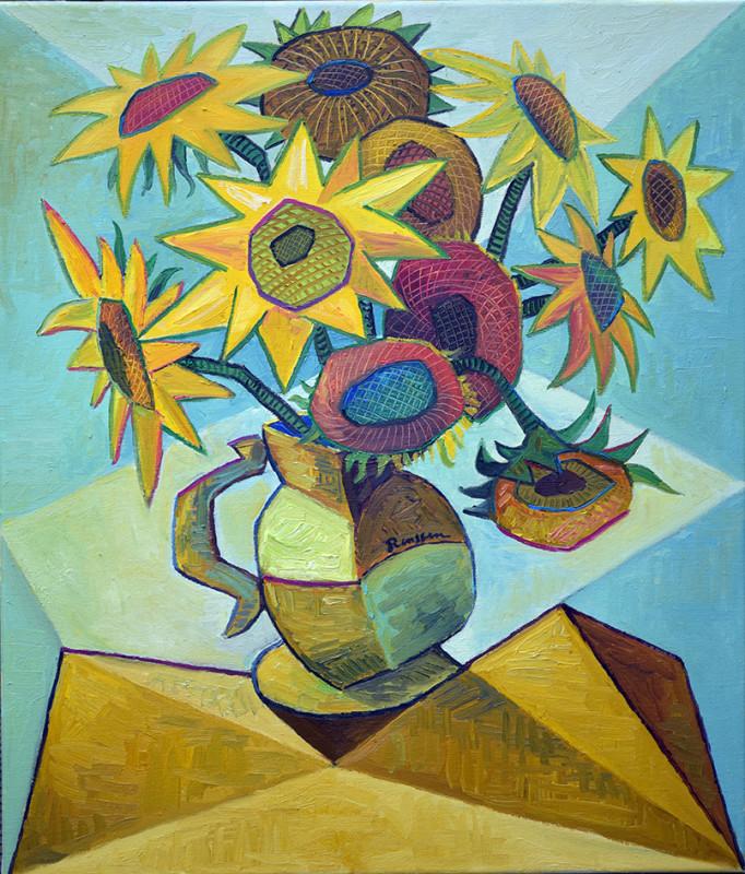 Erik Renssen, Sunflowers in a pitcher II, 2021