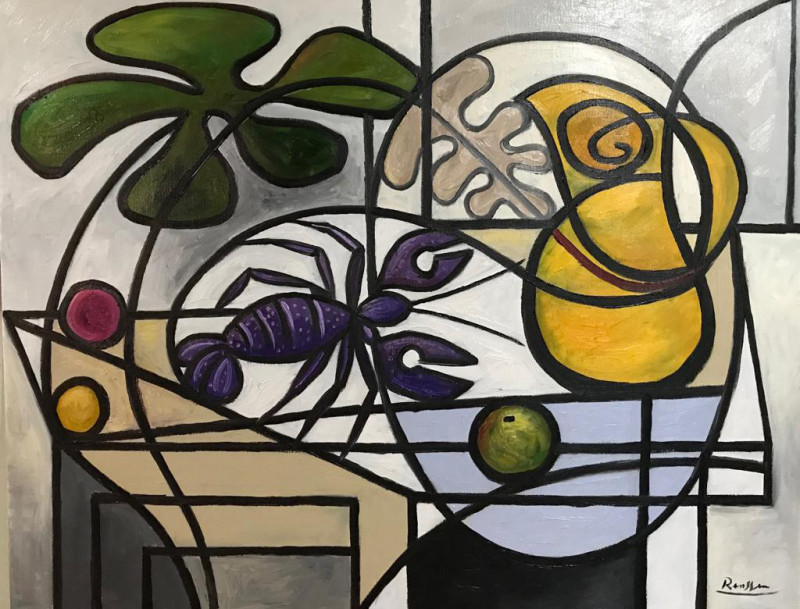 Erik Renssen, Lobster and fruit with pitcher on table, 2019