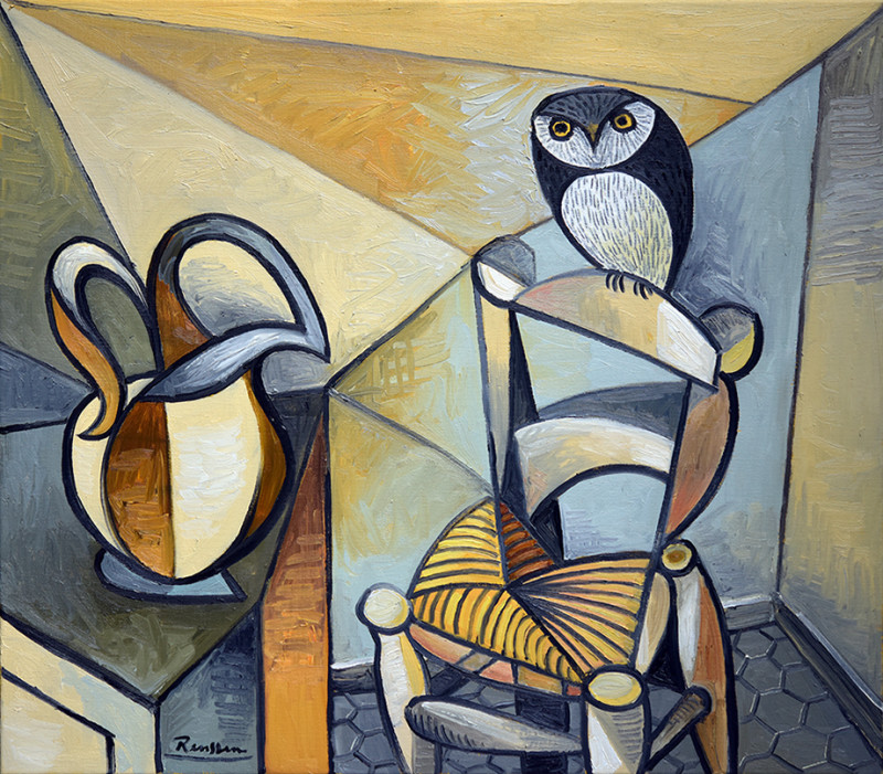 Erik Renssen, Pitcher with owl on a chair, 2020