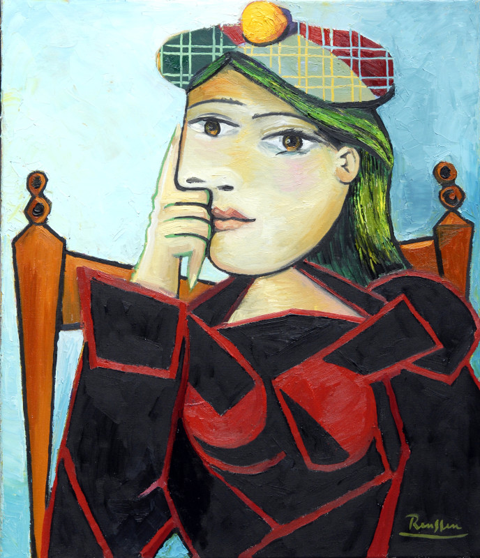 Erik Renssen, Seated woman in a green and red baret, 2017