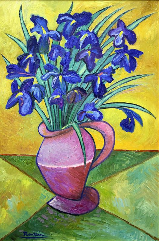 Erik Renssen, Blue irises in a vase, 2020