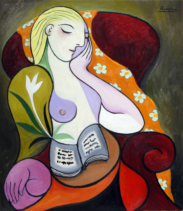 Erik Renssen, Seated woman with orange scarf, 2018
