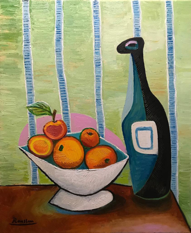Erik Renssen, Oranges and bottles, 2019