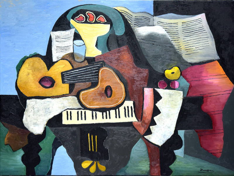 Erik Renssen, Guitars and fruit on a piano, 2019