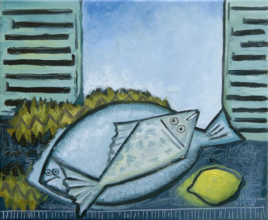 Erik Renssen, Two fish in front of an open window, 2011