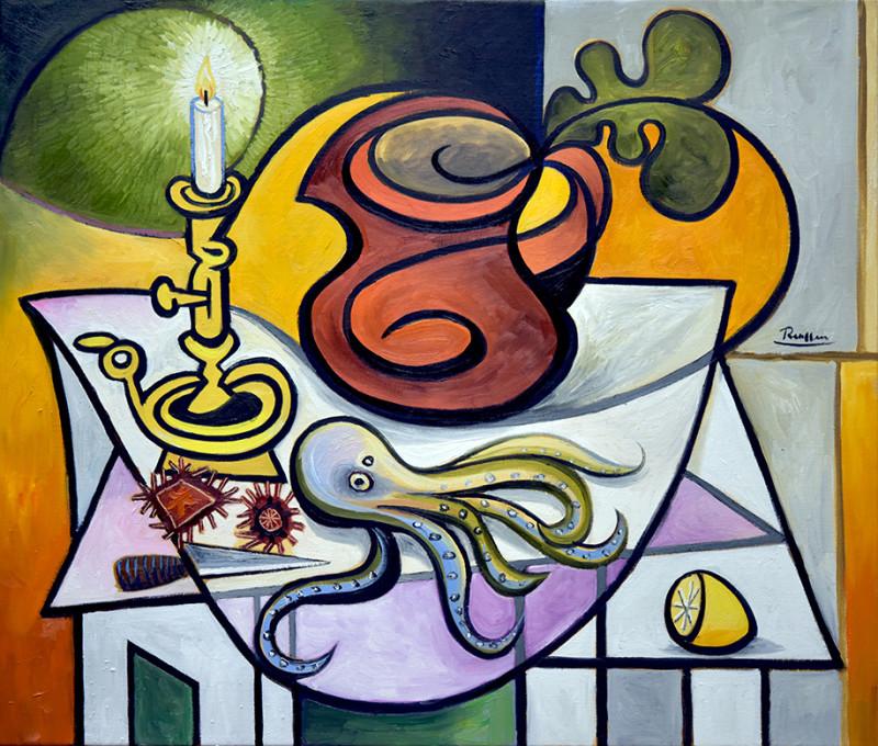 Erik Renssen, Octopus, urchins, lemon and candle, 2017