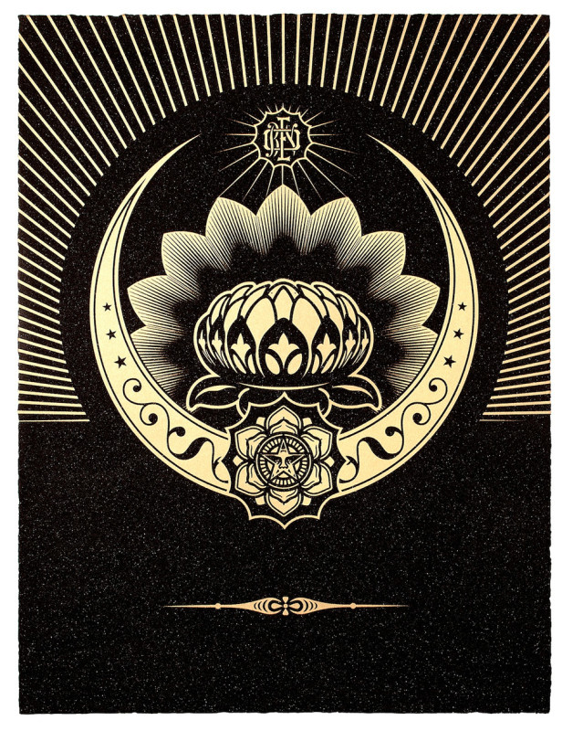 Shepard Fairey (OBEY), Obey Lotus Crescent - Black and Gold
