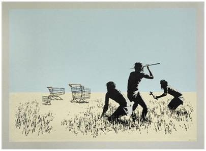 Banksy, Trolley Hunters (Colour)