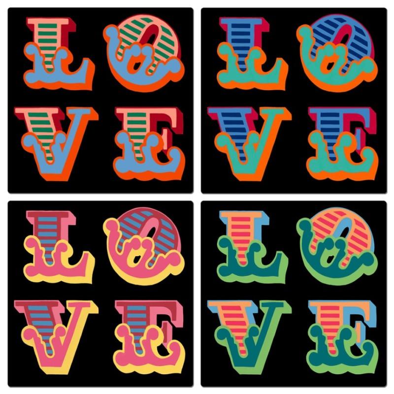 Ben Eine, Framed Love Lenticular 1-4