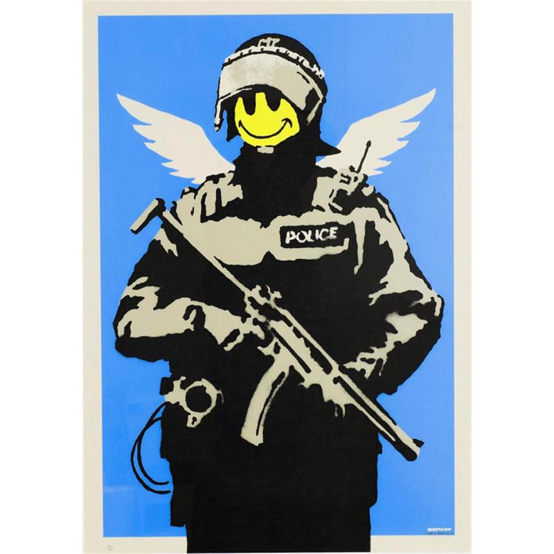 Banksy, Flying Copper (Blue), 2003