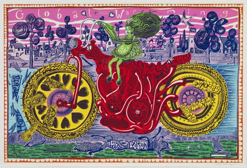 Grayson Perry, Selfie with Political Causes (etching), 2018
